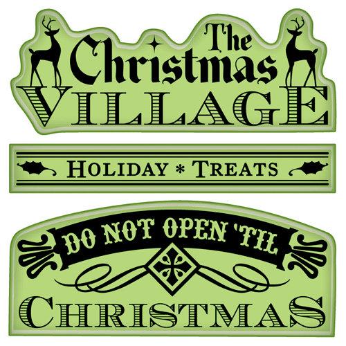 Inkadinkado - Holiday Village Collection - Christmas - Inkadinkaclings - Rubber Stamps - Village Signs and Tags