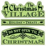 Inkadinkado - Holiday Village Collection - Christmas - Inkadinkaclings - Rubber Stamps - Village Signs and Tags