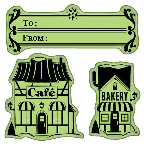 Inkadinkado - Holiday Village Collection - Christmas - Inkadinkaclings - Rubber Stamps - Village Shoppes