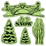 Inkadinkado - Holiday Village Collection - Christmas - Inkadinkaclings - Rubber Stamps - Village Park
