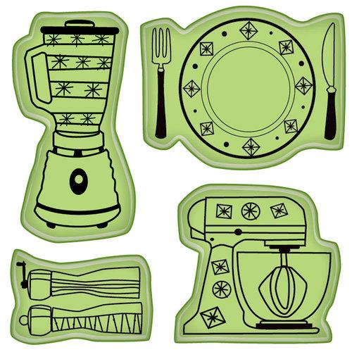 Inkadinkado - Spring Collection - Inkadinkaclings - Rubber Stamps - Kitchen Icons