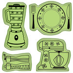 Inkadinkado - Spring Collection - Inkadinkaclings - Rubber Stamps - Kitchen Icons