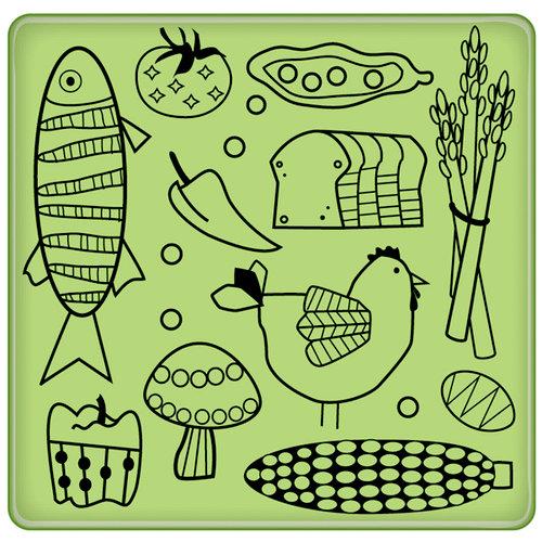 Inkadinkado - Spring Collection - Inkadinkaclings - Rubber Stamps - Kitchen Food Pattern