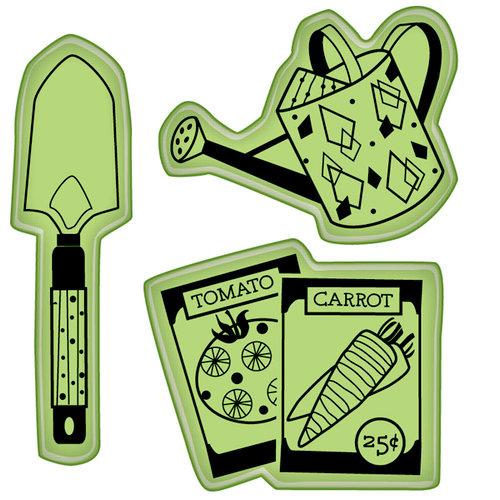 Inkadinkado - Spring Collection - Inkadinkaclings - Rubber Stamps - Garden Veggie Icons