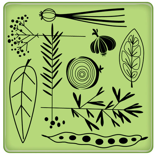 Inkadinkado - Spring Collection - Inkadinkaclings - Rubber Stamps - Garden Veggie Pattern