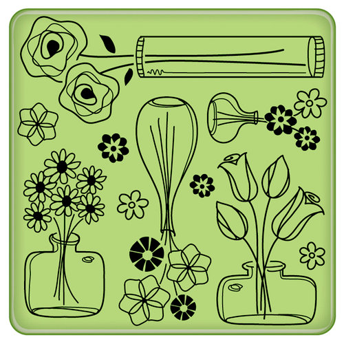 Inkadinkado - Spring Collection - Inkadinkaclings - Rubber Stamps - Flower Pattern