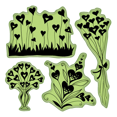 Inkadinkado - Valentine's Day Collection - Inkadinkaclings - Rubber Stamps - Hearts Shapes Flowers