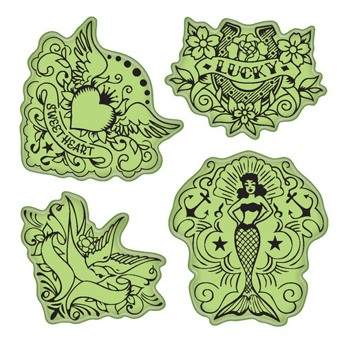 Inkadinkado - Stamping Gear Collection - Inkadinkaclings - Rubber Stamps - Vintage Tattoos