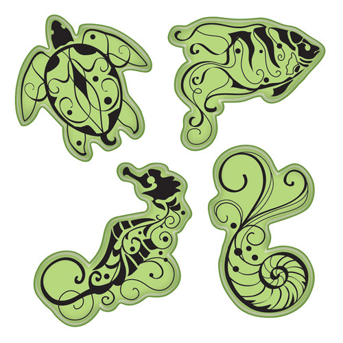 Inkadinkado - Stamping Gear Collection - Inkadinkaclings - Rubber Stamps - Under the Sea