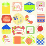 Jinger Adams - Sweet Tart Collection - 12 x 12 Perforated Paper with Glitter Accents - Tags