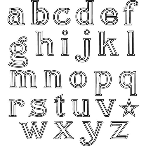 Jenni Bowlin Studio - Clear Acrylic Stamps - Outline Alphabet