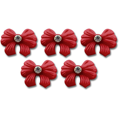 Jenni Bowlin Studio - Self Adhesive Rhinestone Bow Embellishments - Red