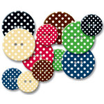 Jenni Bowlin Studio - Chipboard Buttons - Polka Dot, CLEARANCE