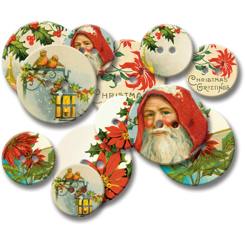 Jenni Bowlin Studio - Chipboard Buttons - Vintage Christmas