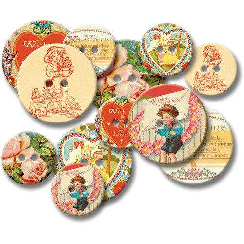 Jenni Bowlin Studio - Chipboard Buttons - Vintage Valentines