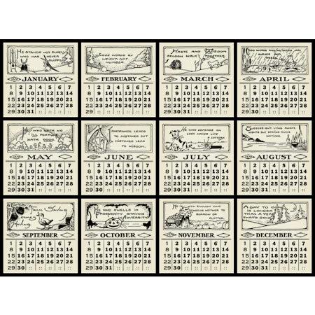 Jenni Bowlin Studio - 12 General Calendar Cards - 3 x 3  Vintage