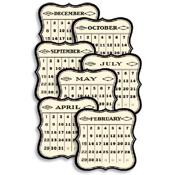 Jenni Bowlin Studio - 12 General Die Cut Calendar Cards - 3 x 3 - Black