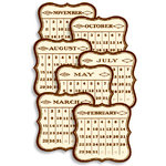 Jenni Bowlin Studio - 12 General Die Cut Calendar Cards - 3 x 3 - Brown