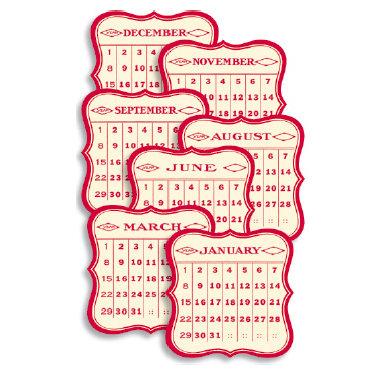 Jenni Bowlin Studio - 12 General Die Cut Calendar Cards - 3 x 3 - Red