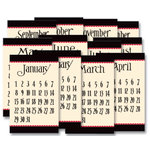 Jenni Bowlin Studio - 12 General Calendar Cards - 2.5 x 4 - Black and Red, CLEARANCE