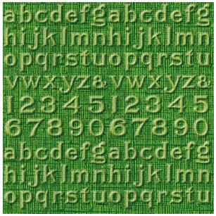 Jenni Bowlin Studio - Core'dinations - Vintage Collection - 12 x 12 Embossed Color Core Cardstock - Asparagus Alphabet
