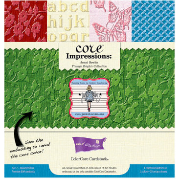 Jenni Bowlin Studio - Core'dinations Core Impressions - 12 x 12 Embossed Color Core Cardstock Pack - Vintage Brights