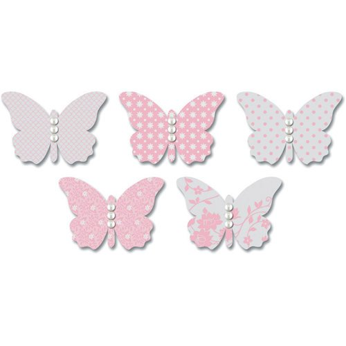 Jenni Bowlin Studio - Vellum Embellished Butterflies with Jewels - Pink, CLEARANCE
