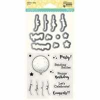 Jillibean Soup - Shaker Die and Clear Acrylic Stamp Set - Balloon Party