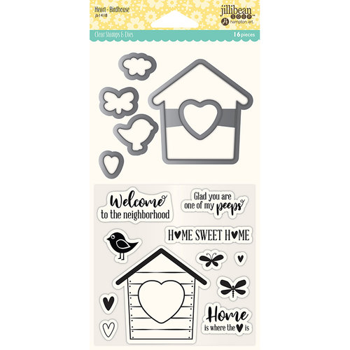 Jillibean Soup - Shaker Die and Clear Acrylic Stamp Set - Heart Birdhouse