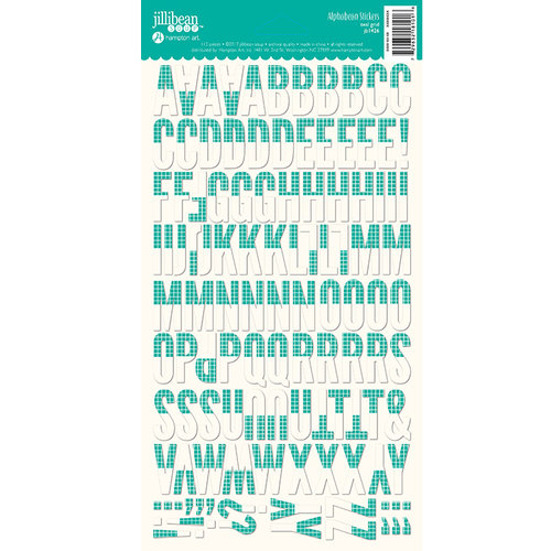 Jillibean Soup - Alphabeans Collection - Alphabet Cardstock Stickers - Teal Grid