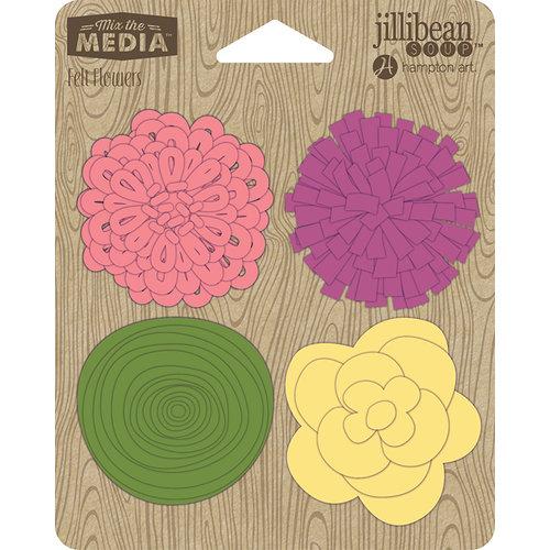 Jillibean Soup - Felt Flowers - Mixed Magenta