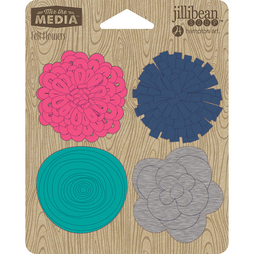 Jillibean Soup - Felt Flowers - Touch of Teal