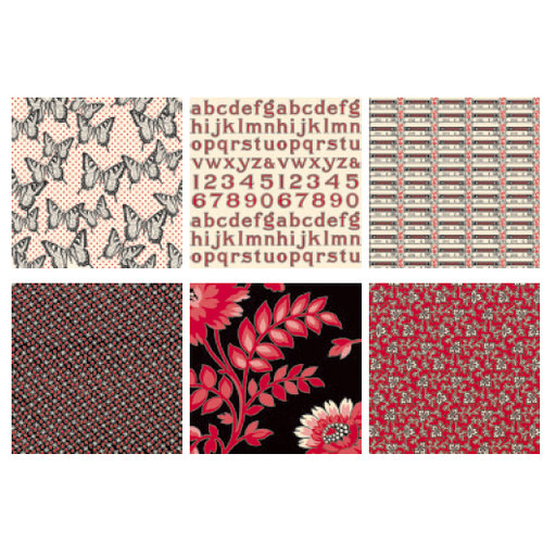 Jenni Bowlin Studio - Red and Black II Collection - Mini 4 x 4 Paper Set