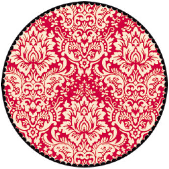 Jenni Bowlin Studio - Red and Black II Collection - 12 x 12 Die Cut Paper - Red Circle Damask