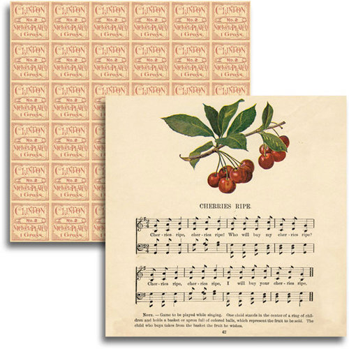 Jenni Bowlin Studio - Haven Collection - 12 x 12 Double Sided Paper - Cherries Ripe