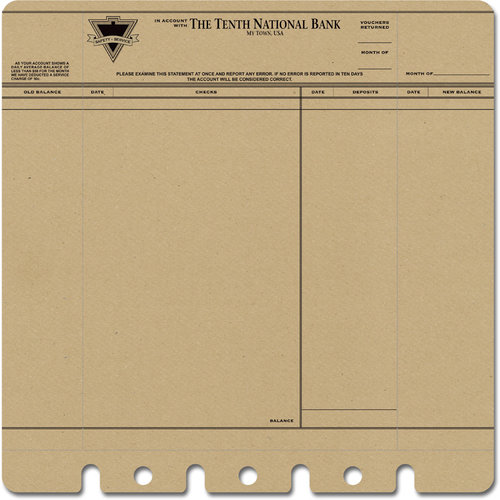 Jenni Bowlin Studio - 12 x 12 Die Cut and Perforated Kraft Paper - Bank Statement