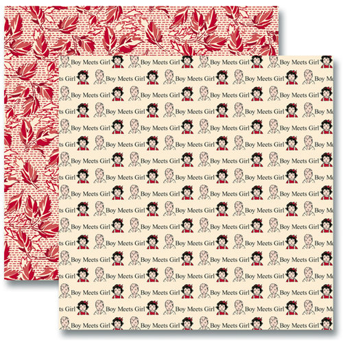 Jenni Bowlin Studio - Red and Black Collection 2012 - 12 x 12 Double Sided Paper - Boy Meets Girl