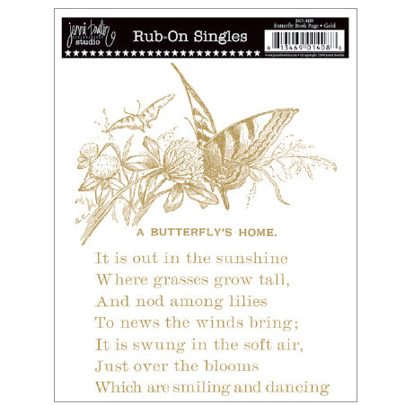 Jenni Bowlin Studio - Rub Ons Single - Butterfly Book Page - Metallic Gold, CLEARANCE