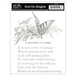 Jenni Bowlin Studio - Rub Ons Single - Butterfly Book Page - Metallic Silver, CLEARANCE