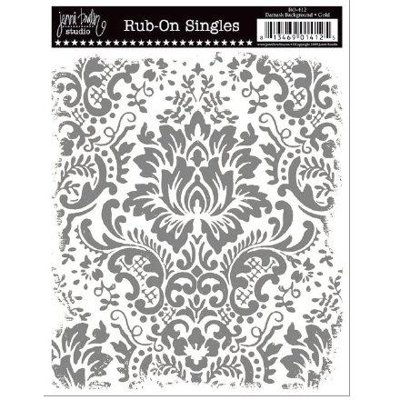 Jenni Bowlin Studio - Rub Ons Single - Damask Background - Metallic Silver, CLEARANCE