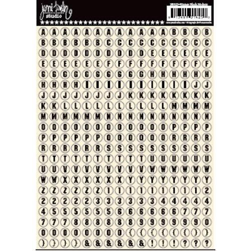 Jenni Bowlin Studio - Cardstock Stickers - Tiny Circle Alphabet - Vintage Black