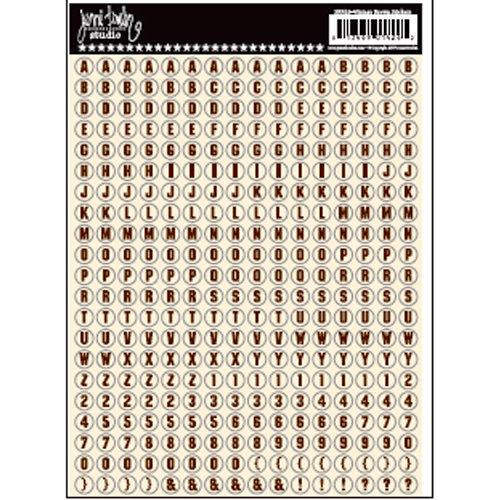 Jenni Bowlin Studio - Cardstock Stickers - Tiny Circle Alphabet - Vintage Brown