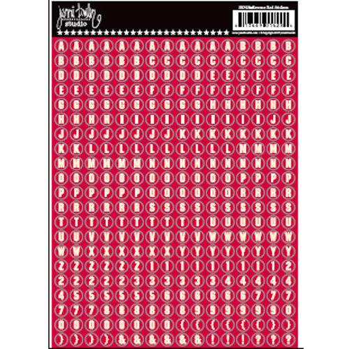 Jenni Bowlin Studio - Cardstock Stickers - Tiny Circle Alphabet - Reverse Red