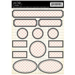 Jenni Bowlin Studio - Cardstock Stickers - Polka Dotted Label - Red and Black, CLEARANCE
