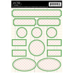 Jenni Bowlin Studio - Cardstock Stickers - Polka Dotted Label - Green and Pink, CLEARANCE
