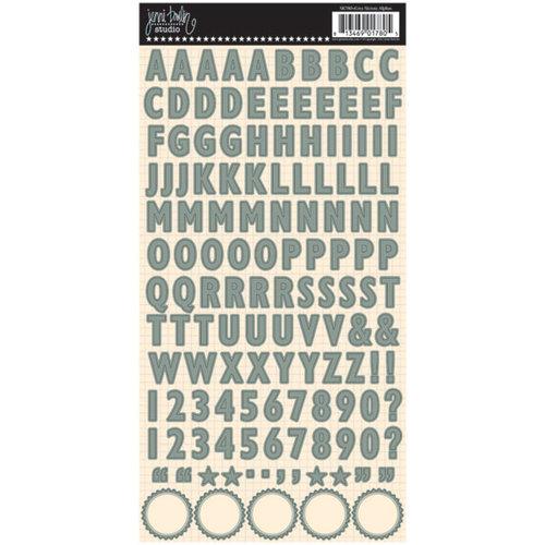Jenni Bowlin Studio - Cardstock Stickers - Skinny Alphabet - Grey