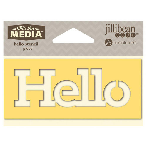 Jillibean Soup - Mix the Media Collection - 4 Inch Stencil - Hello