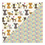 Jillibean Soup - Fur Fusion Collection - 12 x 12 Double Sided Paper - Dancing Dogs