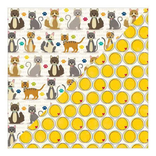 Jillibean Soup - Fur Fusion Collection - 12 x 12 Double Sided Paper - Cat Chow