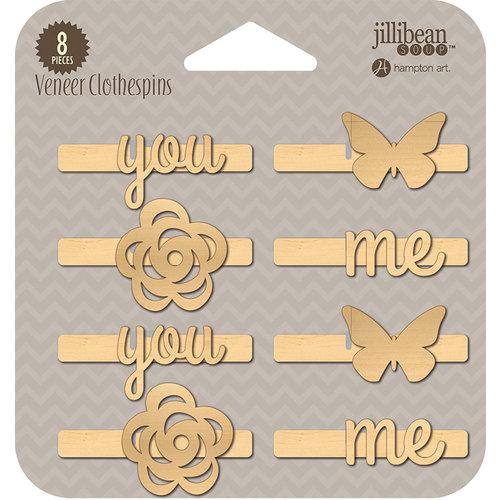 Jillibean Soup - Wood Veneer Clothespins - You and Me